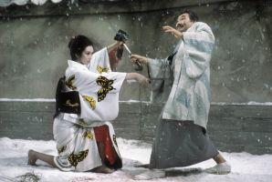 Escena de Lady Snowboold y cuya temática fuera imitada por Quentin Tarantino a modo de homenaje en Kill Bill con su O'Ren Ishii